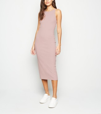 New Look Low Back Ribbed Bodycon Midi Dress