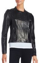 Karl Lagerfeld Asymmetrical Front Leather Moto Jacket