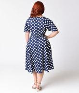 Unique Vintage Plus Size 1940s Navy Blue & White Polka Dot Lucille Swing Dress