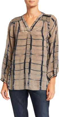Tolani Jamie Printed V-Neck Long-Sleeve Silk Tunic