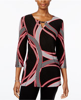 JM Collection Petite Printed Jacquard Keyhole Tunic, Only at Macy's