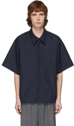 Maison Margiela Navy Heavy Poplin Short Sleeve Shirt