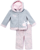 Buster Brown Gray & Light Pink 'Wildly Cute' Zebra Hoodie & Leggings - Infant