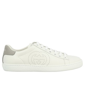 Gucci New Ace Leather Sneakers With Perforated Logo