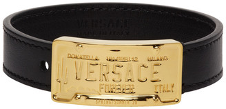 Versace Black and Gold Leather Bracelet