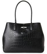 Longchamp Black Roseau Croc-Embossed Leather Tote