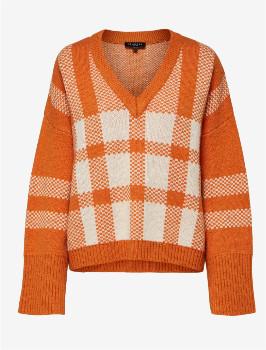 Selected Charlee Loose Knitted Pullover - Hawaiian Sunset - Size XS   wool   viscose   orange - Orange/Orange