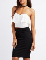 Charlotte Russe Ruffle Strapless Bustier Top