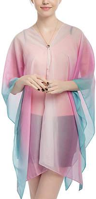 JINWEI Women's Kimono Cardigans pink - Pink & Blue Color-Block Kimono-Sleeve Cardigan