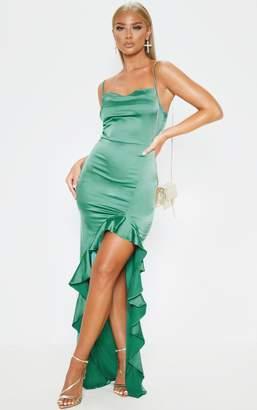 PrettyLittleThing Emerald Green Cowl Neck Frill Hem Maxi Dress