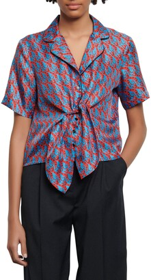 Sandro Caty Cat Print Short Sleeve Silk Shirt