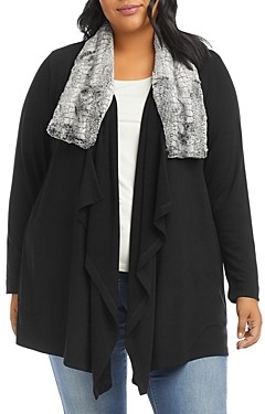 Karen Kane Plus Size Faux Fur Collar Jacket