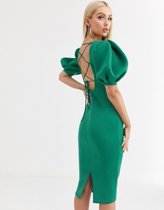 Asos Design DESIGN strappy back bubble sleeve midi dress-Green