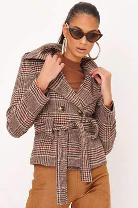 I SAW IT FIRST Brown Check Short Coat