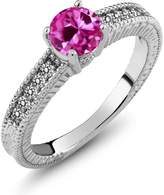 Gem Stone King 1.17 Ct Round Pink Created Sapphire White Diamond 14K White Gold Engagement Ring