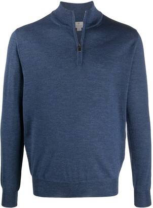 Canali Zipped Funnel-Neck Pullover