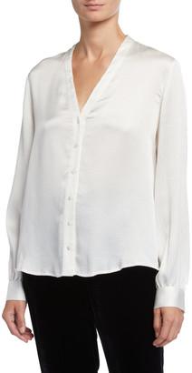 Eileen Fisher Hammered Silk High-Back Band-Collar Shirt