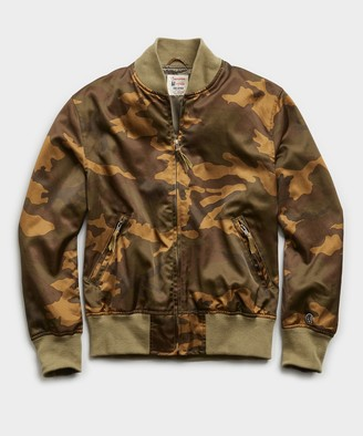 Todd Snyder + Champion Japanese Satin Camo Bomber in Fatigue Green