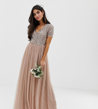 Maya Petite Bridesmaid v neck maxi tulle dress with tonal delicate sequins in taupe blush-Brown