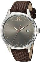 88 Rue du Rhone Men's 'Rive' Swiss Quartz Stainless Steel and Leather Dress Watch, Color:Brown (Model: 87WA154109)