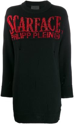 Philipp Plein Scarface distressed jumper