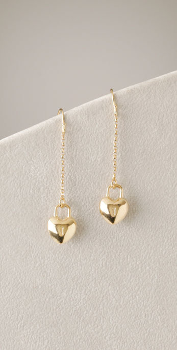 Giles & Brother Small Heart on Chain Earrings
