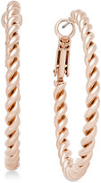 Charter Club Rose Gold-Tone Twisted Hoop Earrings, Only at Macy's