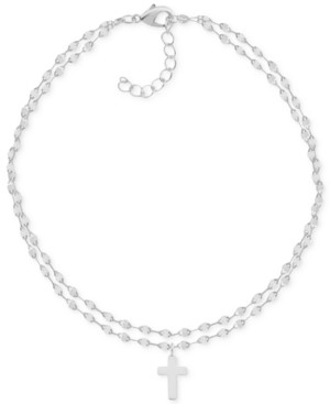 Essentials Two-Row Mirror Chain Cross Fine Silver Plate Anklet