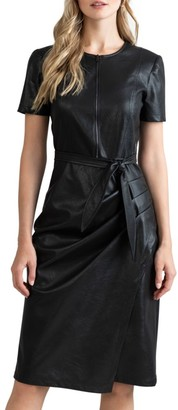 Shoshanna Pratt Faux Leather Short-Sleeve Dress