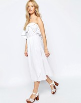 Asos Frill Bandeau Midi Sundress in Clean Cotton