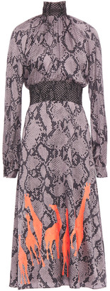Stella Jean Shirred Snake-print Satin-crepe Dress