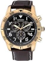 Citizen Men's Eco-Drive Chrono Alarm WR 100m Black Dial Leather Men's Watch, 44mm