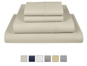 """Fisher West New York Liberty 750 Thread Count Cotton Rich Wrinkle Resistant Twin Sheet 4-Piece Set, Fits Mattress Upto 17"""" Bedding"""