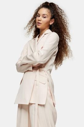 Topshop Womens Beige Jacquard Stripe Blazer - Beige