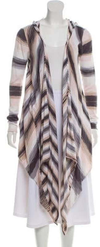 Haute Hippie Striped Hooded Cardigan Grey Striped Hooded Cardigan