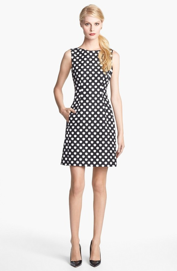 Kate Spade 'domino' Print Cotton & Silk Dress