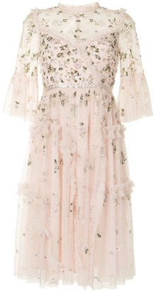 Needle & Thread Sequin-Flower Appliques Tulle Dress