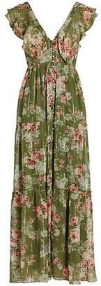 HEMANT AND NANDITA Floral Ruffle Maxi Dress