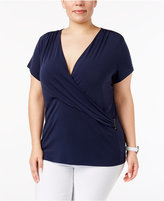 Charter Club Plus Size Faux-Wrap Top, Created for Macy's