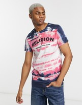 Religion chest logo t-shirt with all over dye in navy