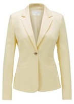 HUGO BOSS - Regular Fit Jacket In Stretch Cotton Satin - Light Yellow