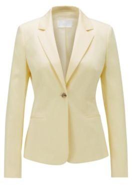 HUGO BOSS Regular Fit Jacket In Stretch Cotton Satin - Light Yellow