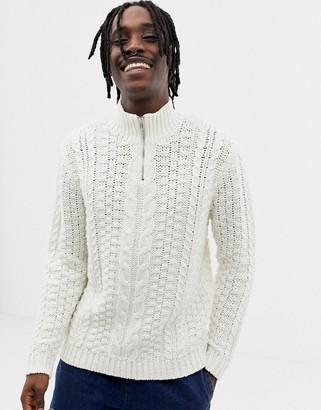 Asos Design DESIGN heavyweight cable knit half zip sweater in ecru-Cream
