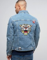 Jack & Jones Intelligence Denim Jacket In Light Blue Wash With Patches