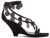 Saint Laurent Kim Coin-embellished Suede Wedge Sandals - Womens - Black