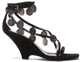 Saint Laurent Kim Coin-embellished Suede Wedge Sandals - Black