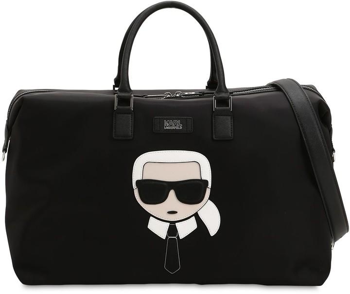 Karl Lagerfeld Paris K/IKONIK PATCH NYLON WEEKENDER BAG