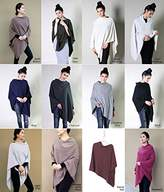 100% Organic Cotton 5-Way Knit Poncho Sweater Pullover Cardigan Topper