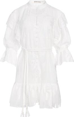 Alice + Olivia Teddi Button Front Belted Mini Dress