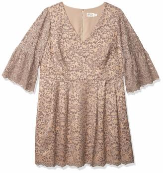 Eliza J Women's Plus Size Lace Flare Sleeve Dress